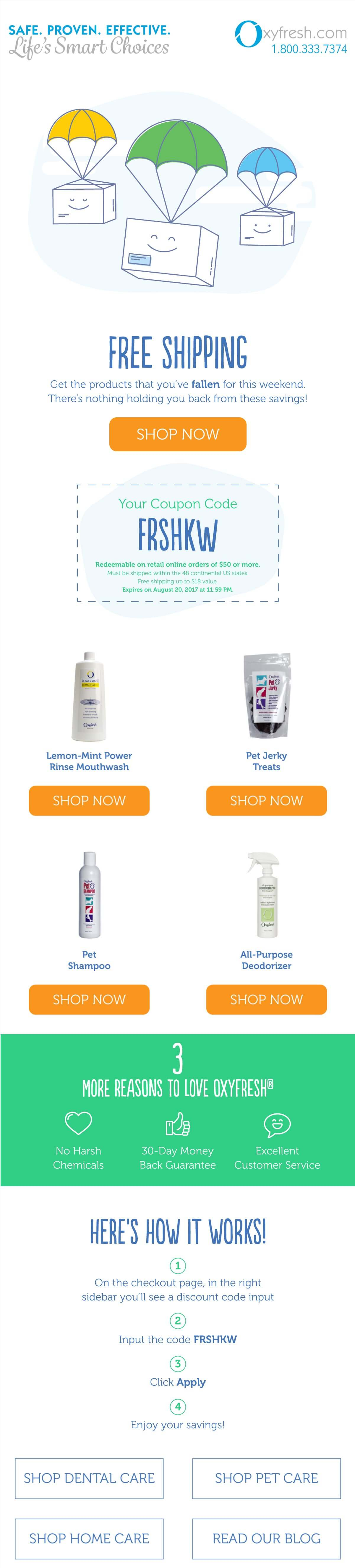 FREE SHIPPING on Oxyfresh orders over 50 ORDER TODAY