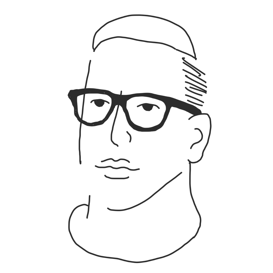 Sketch drawing of Zach in minimal line style.